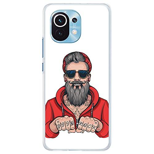 Funda Transparente para [ Xiaomi Mi 11 5G ], Carcasa de Silicona Flexible TPU, diseño: Hombre Hipster, Tatuajes con Barba y Gafas de Sol