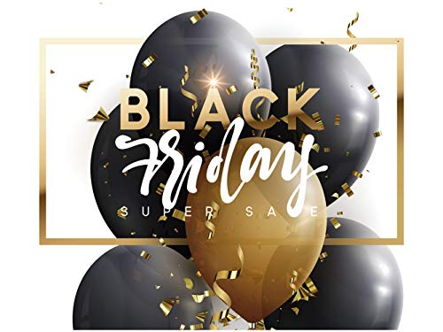 Vinilo Black Friday Escaparates Rebajas Black Friday blanco y dorado | 100 cm de largo x 90 cm de alto | Vinilo Adhesivo | Decora tu escaparate | Pegatinas Adhesivas Escaparate | Vinilos negocios