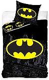 Carbotex – BAT8004 – Juego de cama individual de Batman Logo funda nórdica y funda de almohada - 100% algodón -140 x 200 cm y funda de almohada 50 x 75 cm