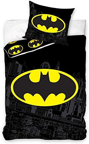 Carbotex BAT8004 Batman Bettwäsche-Set für Einzelbett mit Fledermaus-Logo Gotham City Original Bettbezug und Kissenbezug – Schwarz – 100% Baumwolle – 140 x 200 cm und Kissenbezug 50 x 75 cm