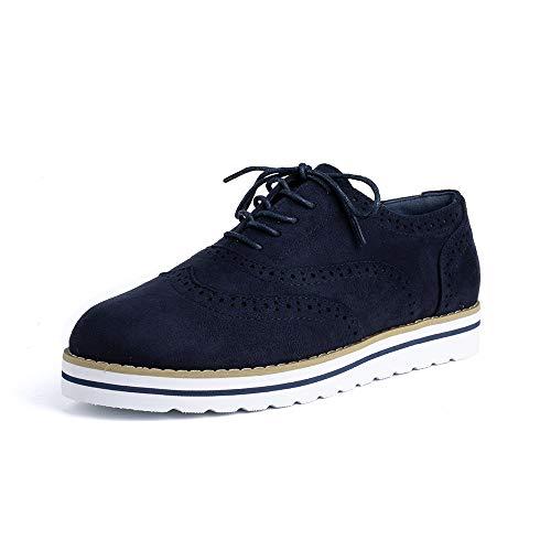 Zapatos de Cordones Mujer Planos Brogue Derby Oxford Gamuza Cuero Mocasines Vestir Moda Casual Calzado Azul 38