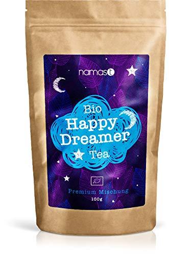 BIO Happy Dreamer Tea 100g - Abendtee, Entspannungstee - biologische Spitzenqualität - loser Kräuter Tee mit Baldrian, Lavendel, Johanniskraut, Passionsblume, Hopfenblüten, etc.