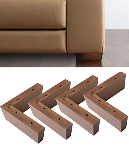 IPEA 4 Patas de Madera Modelo Angular para sofás y Muebles – Juego de 4 Patas para sillones Color Nogal, Altura 50 mm