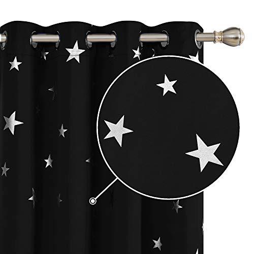 Deconovo Cortinas Dormitorio Moderno Blackout Curtain Suave para Ventanas de Habitación Juvenil Infantiles Estrella Plateada 117 x 138 cm Negro