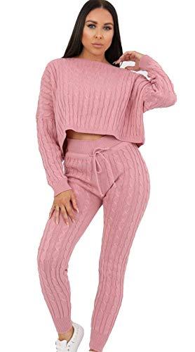 Aramoniat Co-Ord Damen-Trainingsanzug mit Zopfmuster, 2-teilig Gr. 36, rose