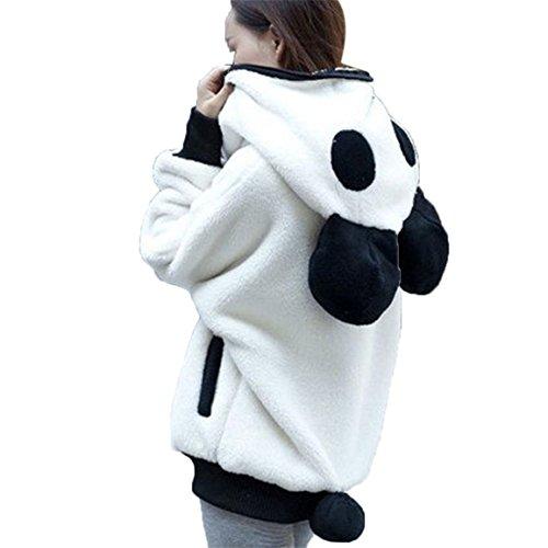 Moonuy Damen Panda Hoodie Mantel, Frauen Mädchen Cute Bear Ohr Panda Winter Warme Hoodie Mantel Frauen Herbst, Winter Kapuzenjacke Plüsch Stilvolle Reißverschluss Outwear (Weiß, XL)