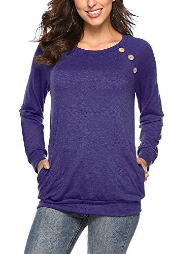 NICIAS NICIAS Damen Langarmshirt Pullover Lässige Rundhals Sweatshirt Schaltflächen Hemd T Shirt Bluse Tunika Top mit Taschen Lila Blau S