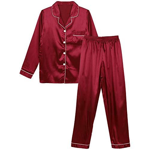 VICENT ama Mujer Saten Pijamas Sedoso Raso Invierno de Manga Larga Kimono Satén Ropa de Casa 2 Piezas M-5XL