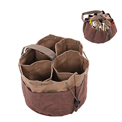 Heavy Duty Canvas Tool Bag Round Garden Tool Organizer Bag with Pockets and Adjustable BeltKhaki