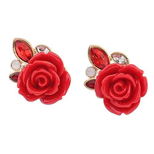 Gemini_mall Fiore Rosa Rosso Cristallo Strass Orecchini per Donne Gioielli Regalo, Red, Taglia Unica