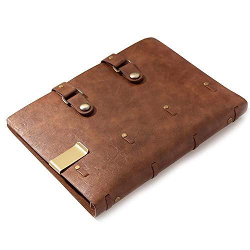 PPuujia Cuaderno de cuero clásico retro cuaderno de cuero en blanco diario de notas, cuaderno de bocetos planificador escuela oficina suministro marrón páginas recargables