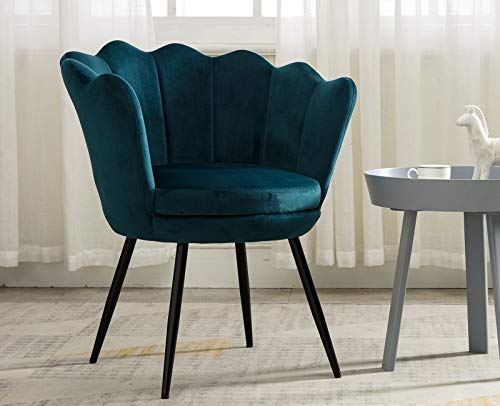 Velvet Accent Chair Black Leg Vanity Chair with Back for Bedroom Armchair Desk Chiar, Teal - Unique chair, chic floral-shaped back rest design Great present for girls and daughters as vanity chair or desk chair High quality velvet fabric, soft to touch - living-room-furniture, living-room, accent-chairs - 41himhCP0QL -