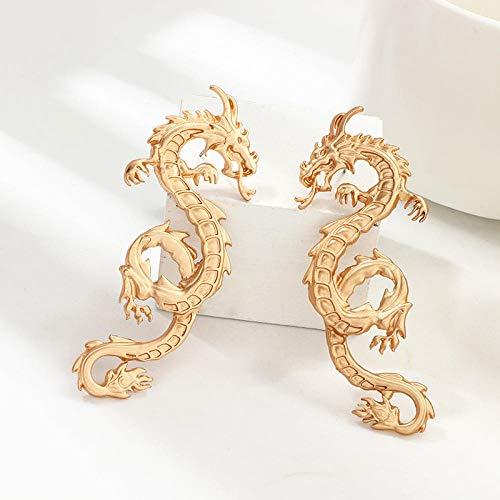 ZIXIYAWEI Ohrringe Für Damen Vintage Chinesische Drachen Ohrstecker Für Frauen Punk Persönlichkeit Tier Totem Ohrringe Statement Schmuck Geschenk-Gold
