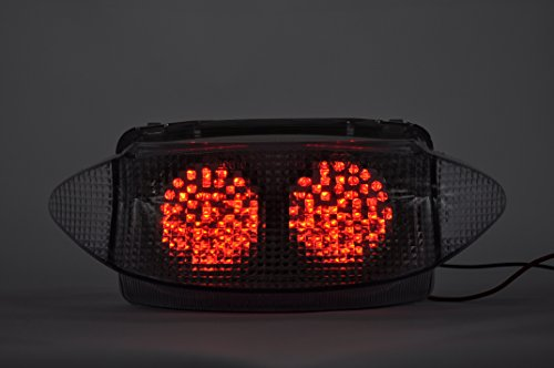 Topzone Feu arrière LED avec clignotant intégré pour Honda 1997-1998 CBR600F3 Gris