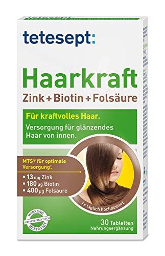 tetesept Haarkraft Zink+Biotin+Folsäure – Ergänzungsmittel mit Zink und Biotin für die Haare – 5 x 30 Tabletten [Nahrungsergänzungsmittel]