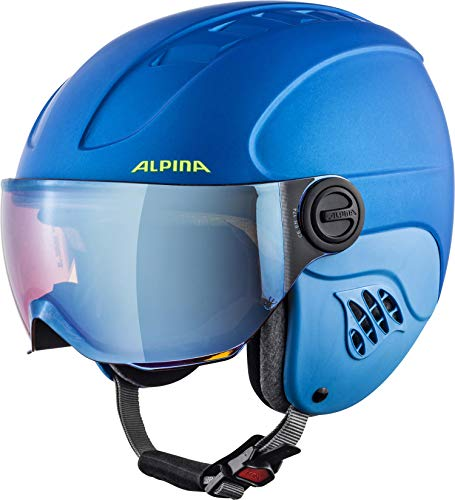 ALPINA CARAT LE VISOR Skihelm, Kinder, blue-neon-yellow matt, 48-52