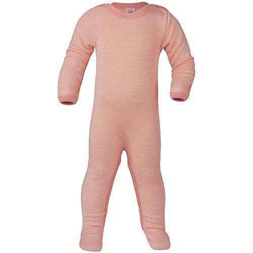 Engel Baby Schlafoverall Langarm mit Fuß Bio-Wolle/Seide, Lachs/Natur, 50/56