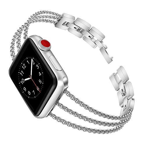 Biaoge Metal Band Compatible for Apple Watch Band Series 4 5 6 40mm 44mm iWatch Series 3 2 1 38mm 42mm, Wristband Strap Cuff Bangle Bracelet