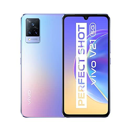 vivo V21 5G Smartphone, 8GB + 128GB, 44 MP-Super-Night-Selfie mit OIS, 64 MP-Dreifachkamera, 90 Hz hohe Bildwiederholfrequenz, Extrem Schmal, 6,44'', Dual-SIM … (Sunset Dazzle)