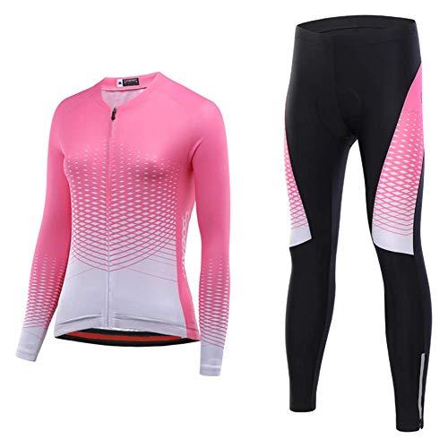 WXJHA De Las Mujeres Ciclismo Conjunto, Ciclismo Traje Ropa Chaqueta Térmica Fleece A Prueba De Viento De Manga Larga Y Pantalones Deportivos para Bicicletas De Carreras De Bicicletas Equipo,M
