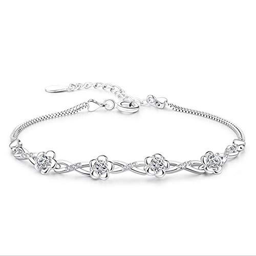 Sterling zilveren Armband Dames, Glamour Lady 925 Sterling zilveren Retro Armband Mode Wit Kristal Elegante Bloem Persoonlijkheid Zilver Armband Eenvoudige Vriendschap Casual Comfortabele Kerst Engage