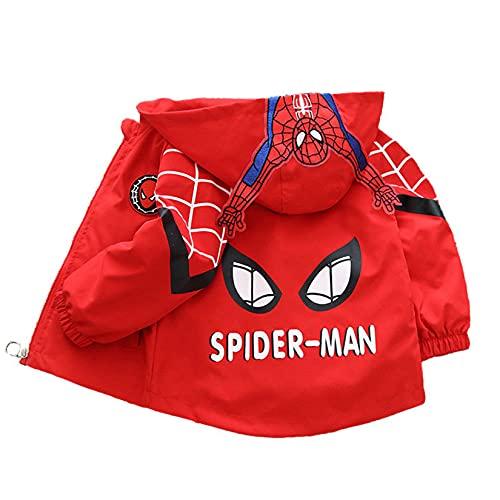 Hflyy Disfraz Spiderman Sudadera Capucha Niños Capucha Superhéroe Avengers Chaquetas Abrigo Anime Cómodo Jersey Cremallera Suéter Casual A Prueba De Viento Cárdigan Al Aire Libre,Red-L/90~100cm