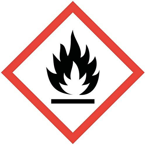 Gefahrstoffaufkleber GHS02 (Leicht-)(Hoch-) Entzündlich I 10 x 10 cm I Gefahrstoffsymbol, GHS-Kennzeichnung, Achtung, Warnung, Vorsicht, Hinweis I hin_148