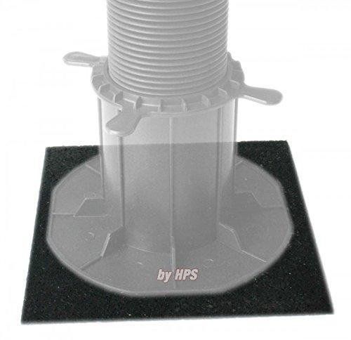 HPS® 20-Stück - Stelzlager-Gummipads 180x180x3mm, Terrassenpad, Unterlage für Stelzlager, Gummigranulat, für den Terrassenbau. Gummipad als Unterlage für Stelzlager, Steinplatten.Blumentöpfe ec