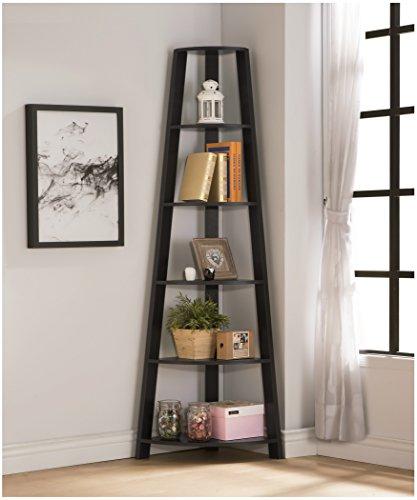 RAAMZO Cappuccino Finish Wood Wall Corner 5-Tier Bookshelf Bookcase Accent Etagere