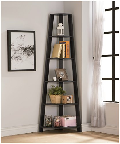 RAAMZO Cappuccino Finish Wood Wall Corner 5-Tier Bookshelf Bookcase Accent Etagere