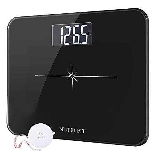 Digital Body Weight Bathroom Scale, Extra-Wide/Ultra-Think 6mm Tempered Glass with Body Tape Measure from NUTRI FIT, Step-on Technology, Large Easy Read Backlit LCD Display 400 Pounds Black
