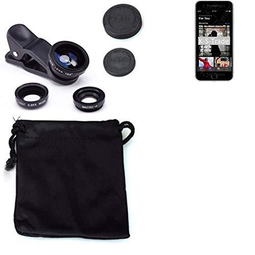 K-S-Trade 3in1 para Apple iPhone SE (2020) Obiettivo Lente 180° Fisheye, Gran Angular 0.67x, Macro Amplicación len Negro