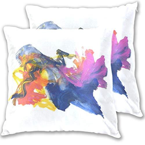 SAIAOS Fundas de Cojín Paquete de 2 Fiesta Original Color Abstracto Arte público,Decorativa Impreso Caso de Almohada Cuadrado Fundas de Almohada para Sofá Coche Cama 60x60cm