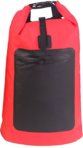SINOTOP Original Rucksack Barrel Bag Outdoorrucksack aus LKW Plane Wasserdicht für Sport, Fahrrad, Wandern, Trekking, Schützt vor Regen, Wasser, Sand, Feuchtigkeit (Rot)