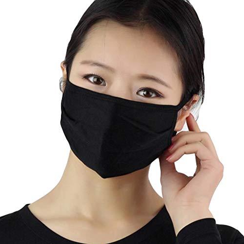 AmyGline Unisex Baumwoll-Maske-Mundschutz,3 Stück,doppelschichtig,Seide,atmungsaktiv,Anti-bakteriell, Sonnenschutz,kälte-und staubdicht,Grau,weiß (3PC, Schwarz)