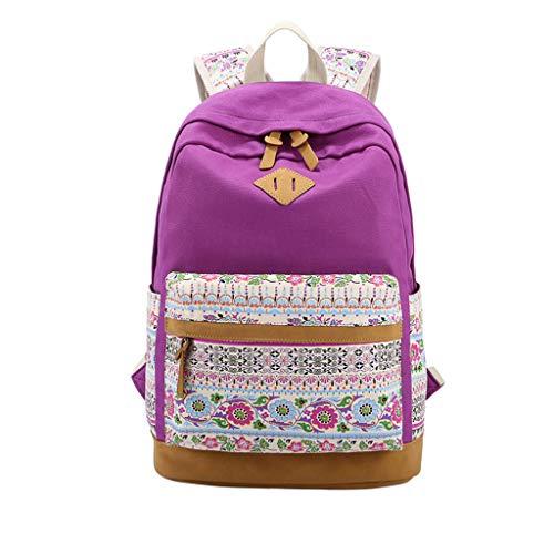 Yourgod Rucksack für Damen und Mädchen, Segeltuch, Reiserucksack, Freizeit, Schule, Schultertaschen, große Kapazität, Blumenmuster, bedruckter Segeltuch, Reiserucksack Gr. Einheitsgröße, violett