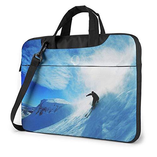 XCNGG Computertasche Umhängetasche Laptop Bag, Blue Skiing Briefcase Protective Bag 13 inch