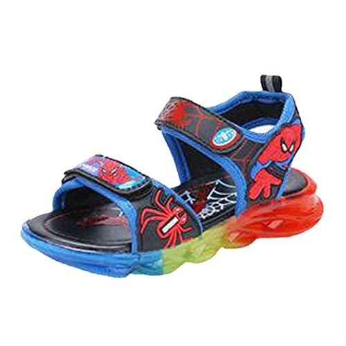 XNheadPS Sandales Spiderman pour garçon Fille LED Light Up Sandale Sandales à Orteils Qui fuient Enfants Shandals en Plein air Été Casual Sandale Plate Plage Sneaker,Blue-21 Inner Length 13.0 cm