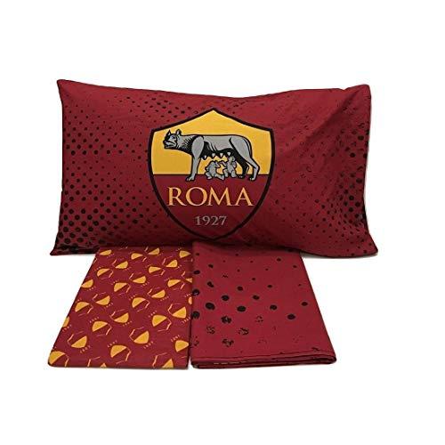 AS Roma 6394673R701 Completo Letto, Cotone, Rosso/Giallo, Singolo, 150 x 280 cm