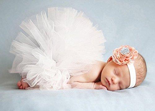 Butterem Neugeborene Baby Säugling Fotografie Stütze Kostüm Outfits Tutu Rock Outfits Blume Stirnband Set, Weiß
