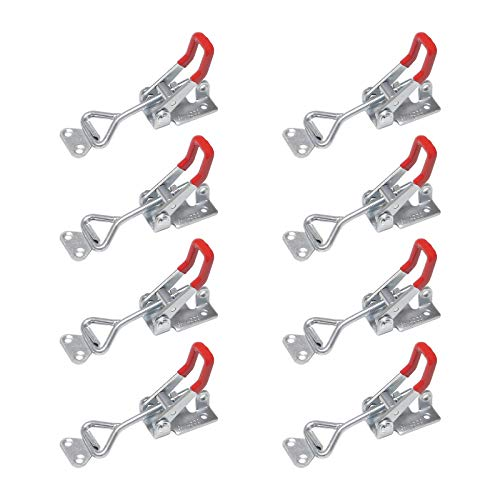 Chfine Adjustable Toggle Clamps with Lock Hole, Hold Down Toggle Clamps Latch Antislip Red Hand Tool Holding Capacity Antislip Horizontal Heavy Duty Toggle Clamp 4002 480lbs Quick Release Tool(8 pack)