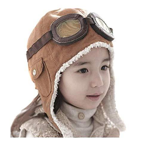 Baby Genius Genius_Baby Lovely Cute Fashion Warm Baby Kid Toddler Infant Child Children Boy Girl Winter Earflap Pilot Cap Aviator Hat Beanie Flight Helmet (Coffee), Head circumference- under 50cm