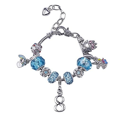 Pulsera de eslabones de cadena para niñas, hija, nieta, sobrina, color azul