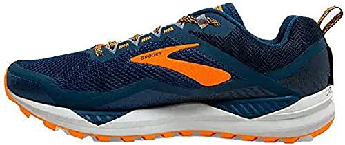 Brooks Cascadia 14, Chaussure de Course Homme, Poseidon/Orange/Grey, 45 EU