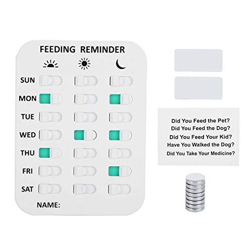 nobrands Fütterungserinnerung - Magnetische Erinnerungsaufkleber Tägliche Anzeigetabelle für Haustiere(Weiß)