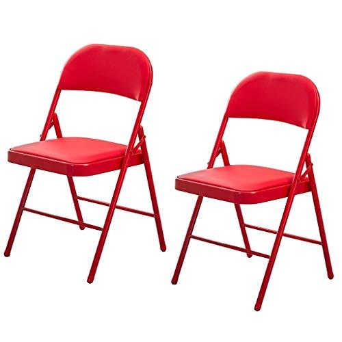 ZSH (2 piezas) Silla de comedor plegable, silla nórdica, silla de ordenador (acero al carbono + PU), respaldo de salón, silla de oficina, silla de escritorio, 4 colores (color: A)