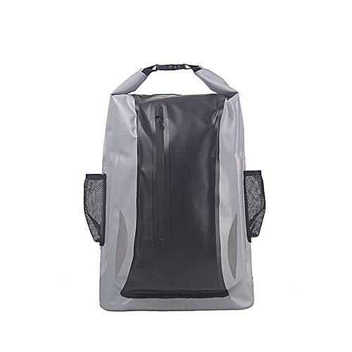 Dfghbn Mochila Impermeable Bolsa de Cubo Impermeable Senderismo al Aire Libre Wading Bolsa Impermeable Mochila Bolsa Impermeable Deportes acuáticos (Color : Gris, Size : 30L)