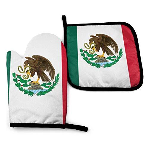 ZHSL Ofenhandschuhe und Topflappen-Sets, Flagge von Mexiko wasserdichte Polyeste-Kochhandschuhe Hitzebeständige rutschfeste Oberfläche für Küche Grill Kochen Backen Grillen