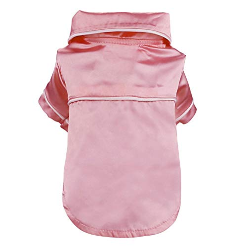 Mallyu Pet Supplies Pets Clothing Soft Silk French Bulldog Pajamas Pet Dog Pajama for Small Dogs Shih Tzu Puppy Cat Clothes Jumpers Outfit Outdoor Pink Blue