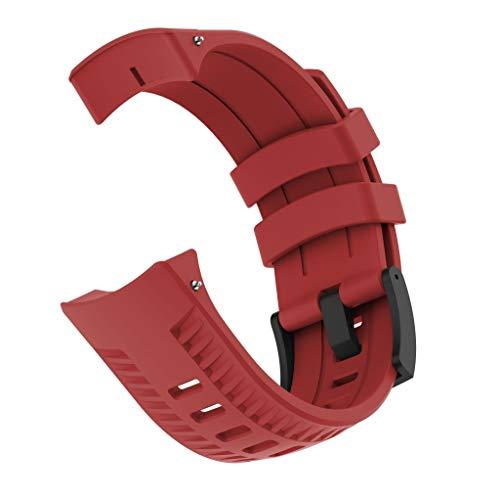 Transer Cinturino Sportivo con Cinturino in Silicone per SUUNTO 9 / Baro Smart, Gomma Morbida per Donna (Red)